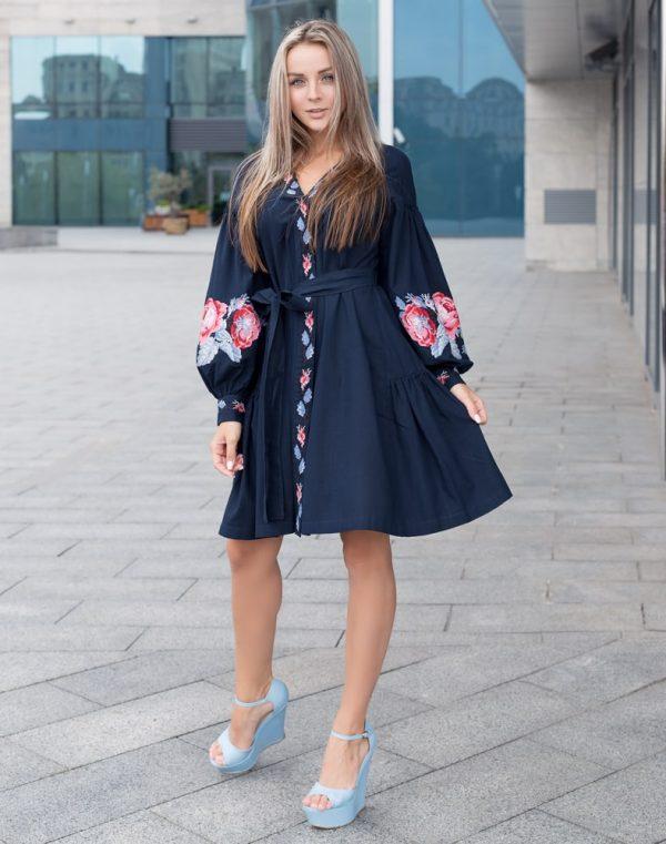 Платье женское РОЗЫ, арт. ВП-136, лен темно-синий