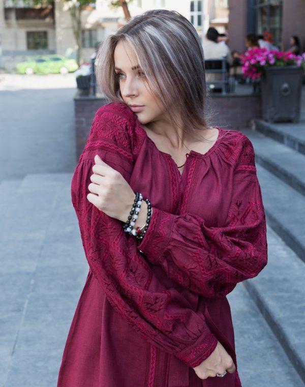 "Платье ""Чернигивська "" лен  вишня"