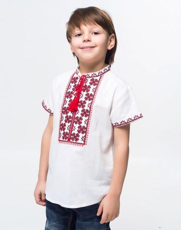 """Вышиванка для мальчиков """"Васильок"""" хлопок белый"""
