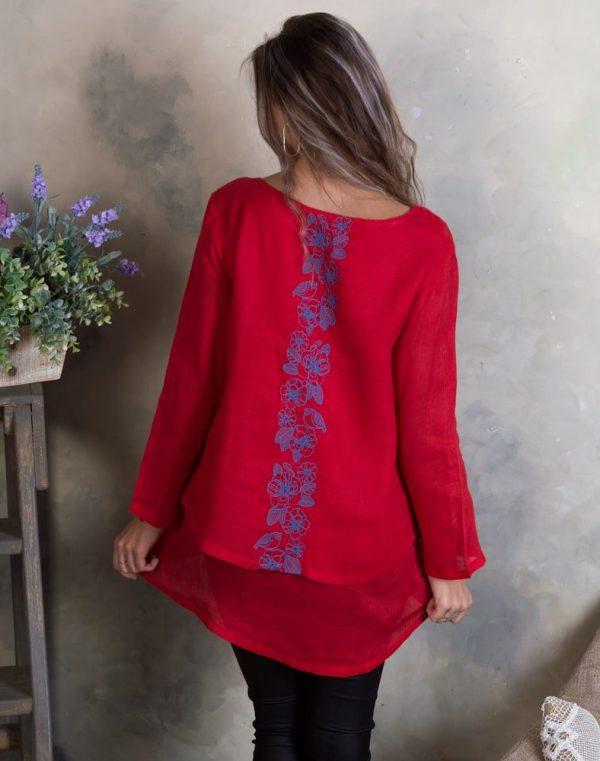 Блуза женская ВП-92 лен Птички красный