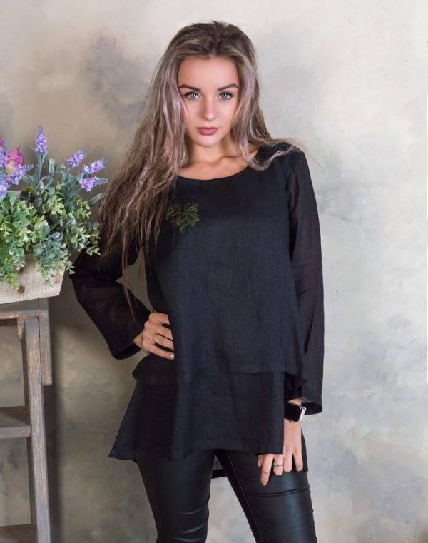 Блуза женская ВП-92 лен Птички черный
