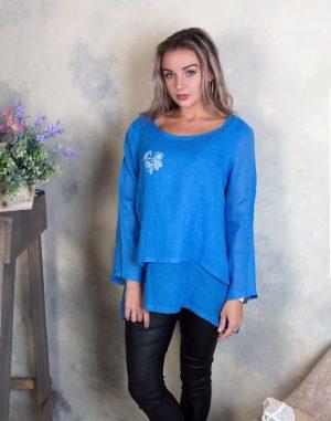 """Блуза ВП-92 лен """"Птички"""" голубой"""