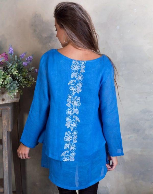 Блуза женская ВП-92 лен Птички голубой