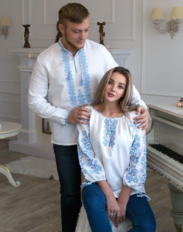 """Вышиванка женская """"Козацька"""" лен белый"""
