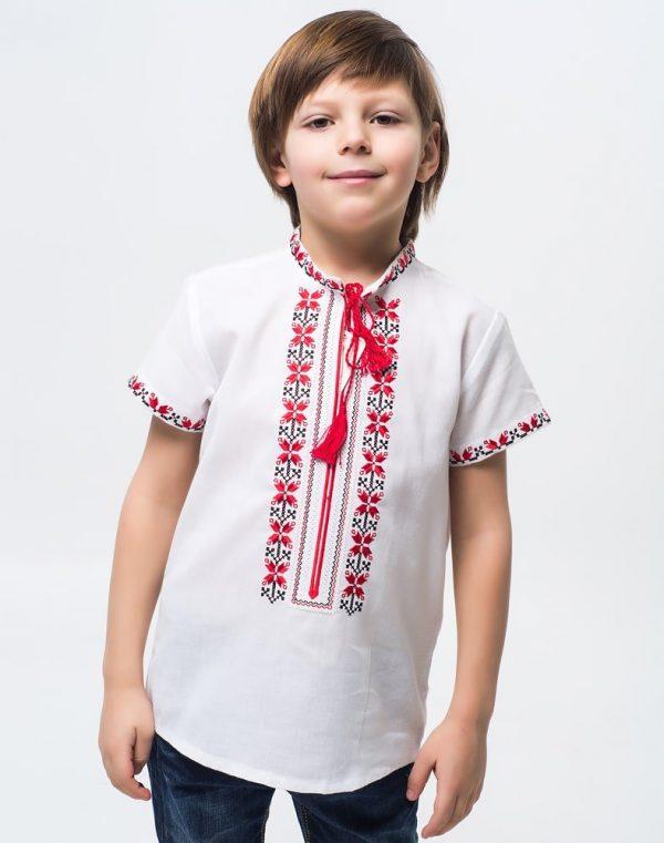 """Вышиванка для мальчиков """"Алатир"""" КР хлопок 122-140 белый"""