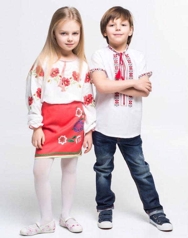 """Вышиванка для девочек """"Макова  писня"""" поплин белый"""