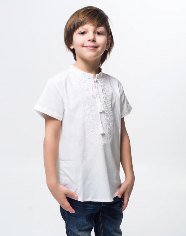 Вышиванка для мальчика Дубочок КР бавовна 098-116 белый