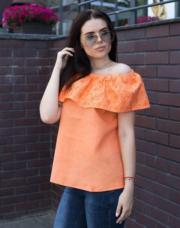 Блуза женская ВП-94 лен оранжевый