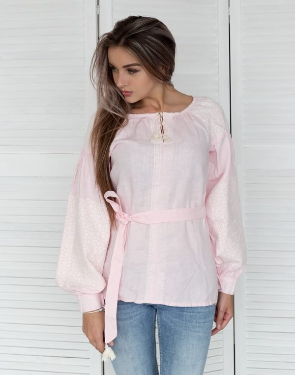 """Вышиванка женская """"Засияне поле"""" лен розовый"""
