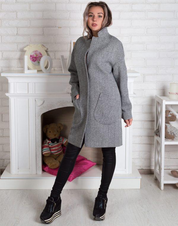 Женское пальто В-114 Твид черно-белый