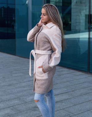 В-117  Пальто женское  варенная шерсть бежевый