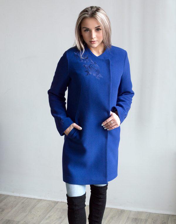 В-120 Пальто Кашемир Розы синий