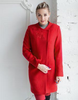 В-120 Пальто Кашемир Розы красный