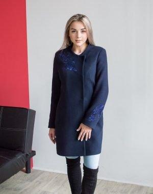 В-120 Пальто Кашемир Розы синий темный