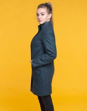 В-71 Пальто женское утепленное кашемир Феникс темно-бирюзовое