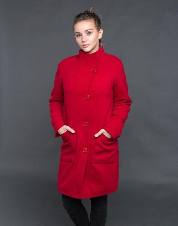 В-71 утепленное Пальто Кашемир красный