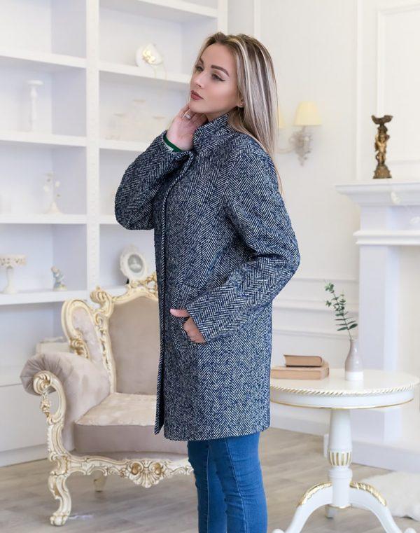 Женское пальто В-113-2 Твид-Букле утепленное темно-синий
