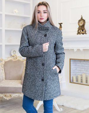 В-113-2 Пальто Твид-Букле утепленное черный