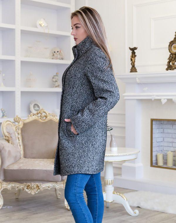 Женское пальто В-113-2 Твид-Букле утепленное черный