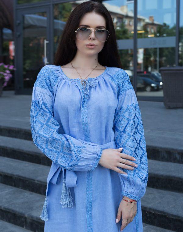 """Платье """"Чернігівщина"""" лен  голубой"""