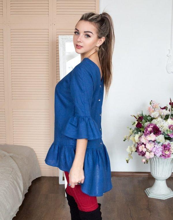 Блуза женская ВП-80 лен синий