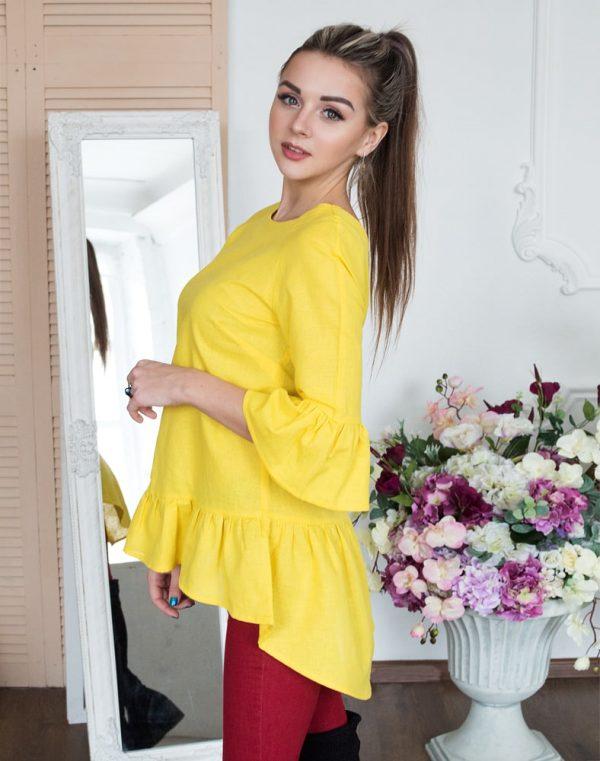 Блуза женская ВП-80 лен желтый