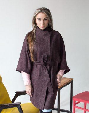Женское пальто К-163 Кашемир цвет марсала