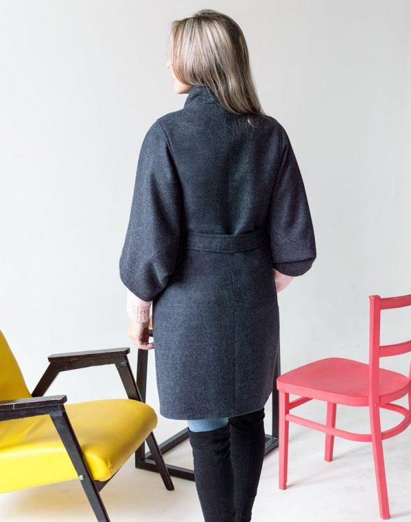 Женское пальто К-163 Кашемир темно-синий