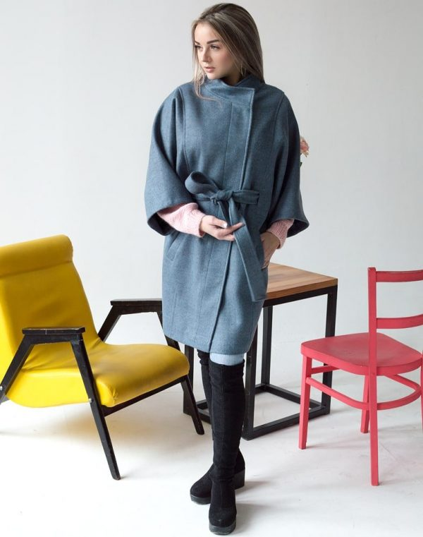 Женское пальто К-163 Кашемир серо-голубой
