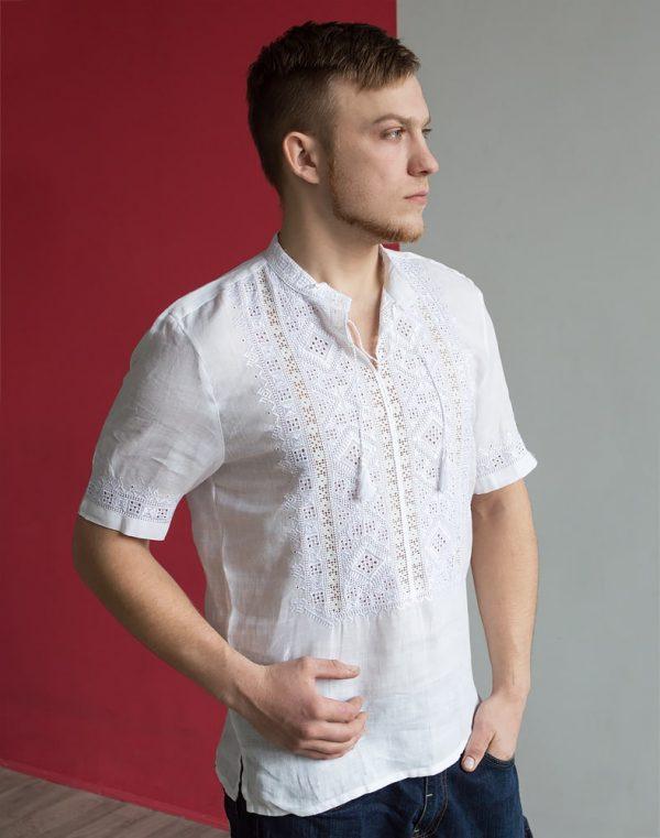 """Вышиванка мужская """"Парубок"""", лен белый"""