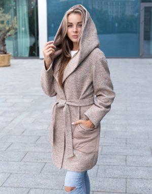 Женское пальто В-140 варенная шерсть бежевый