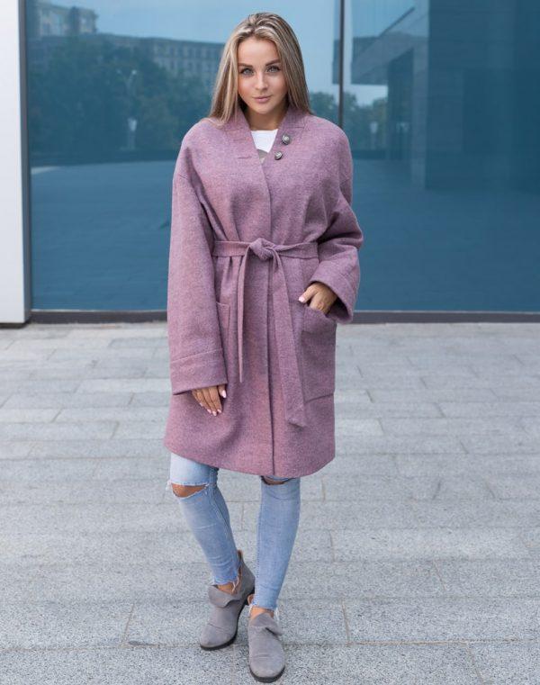 Женское пальто В-141 Феникс сиреневый