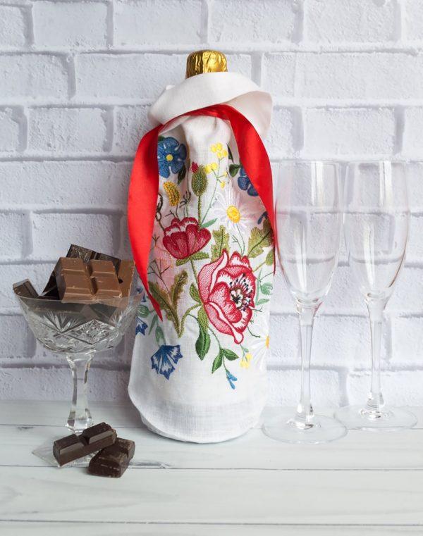 """Чехол для бутылки """"Украинский веночек"""" лен белый"""