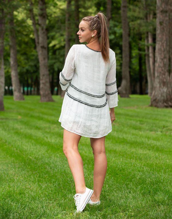 Платье ВП-150 лен  белый
