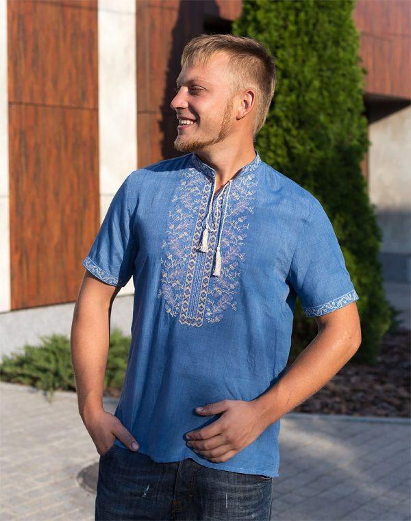 "Вышиванка мужская ""Дубок"" батист голубой"