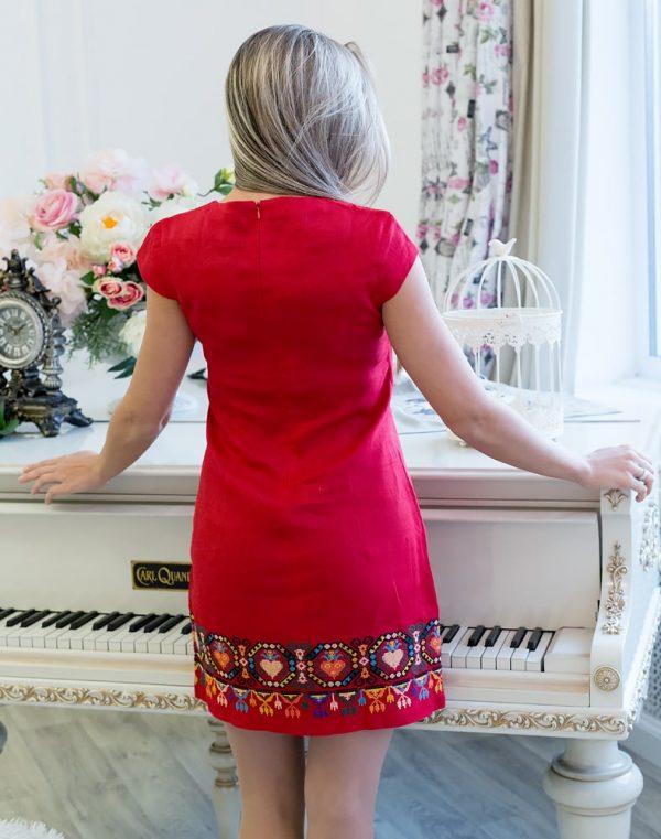 """Платье """"Серденько"""" лен красный"""