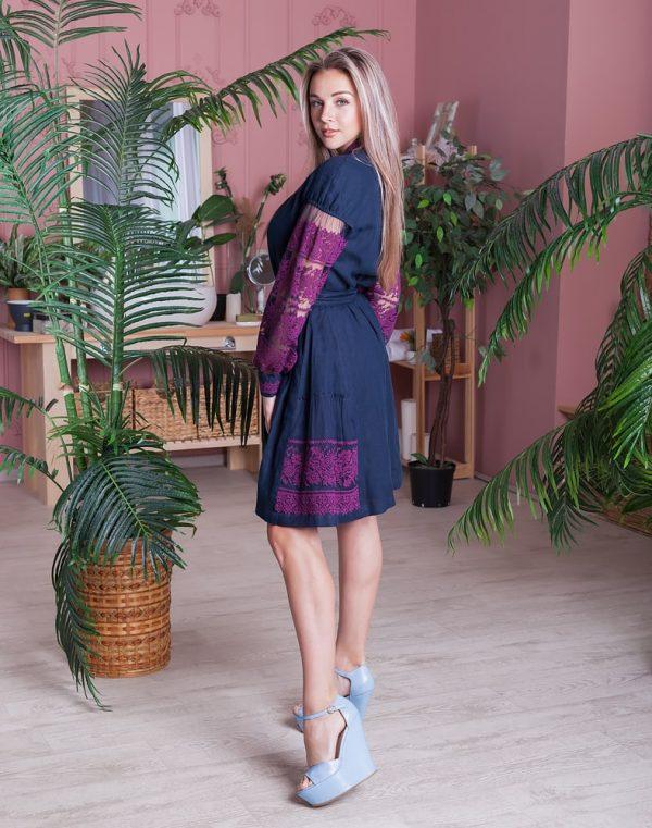 """Платье """"Дівчина Хлібороба"""" лен т.синий+сетка"""