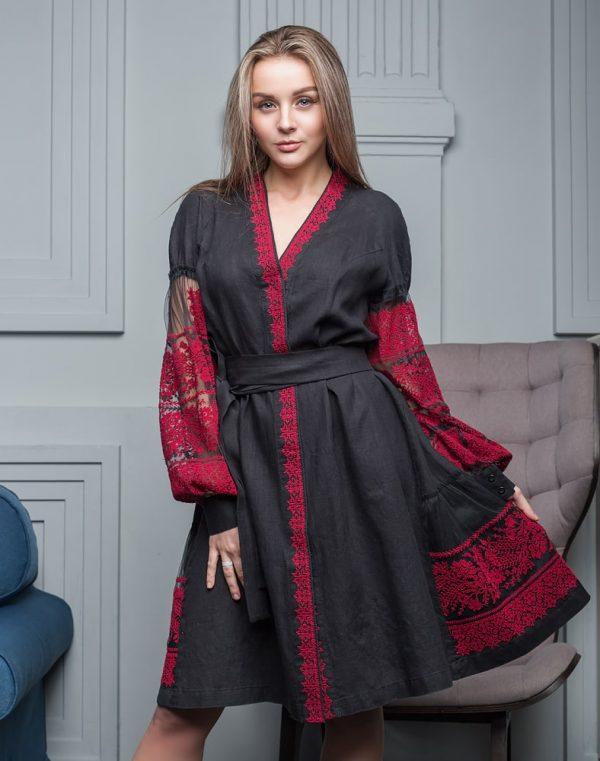 """Платье """"Дівчина Хлібороба"""" лен черный"""