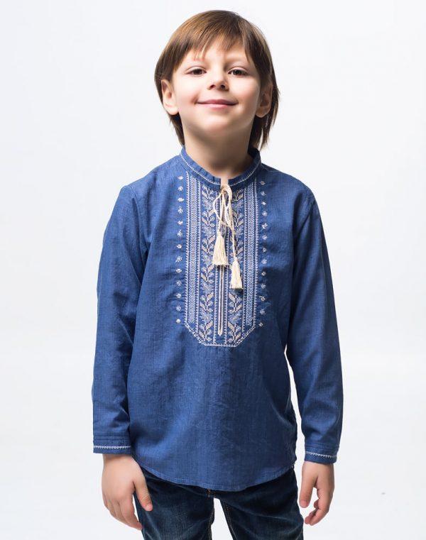 "Вышиванка для мальчика ""Дубова Гилка"" батист 122-134 синий"