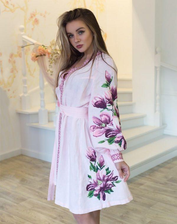 """Платье """"Магнолія"""" лен  розовый"""