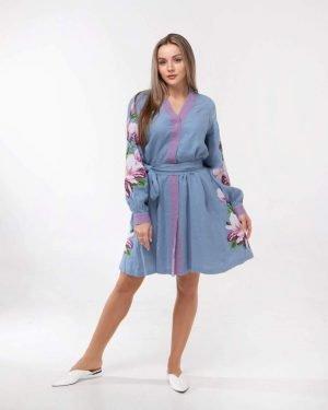 "Платье ""Магнолія"" лен  78 т.голубой"