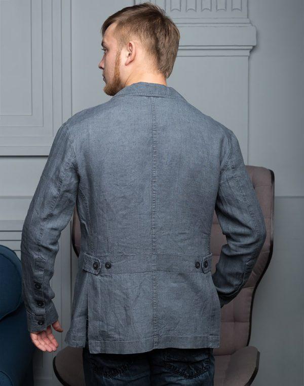 Пиджак мужской В-150 лен темно-серый