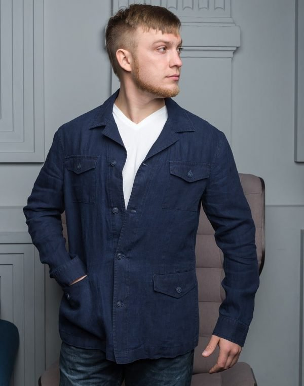 Пиджак мужской В-150 лен 5022 синий