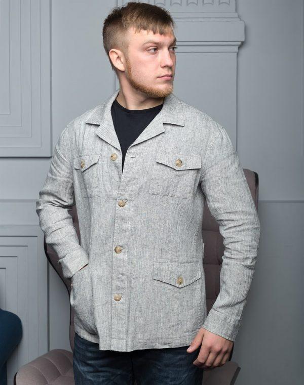 Пиджак мужской В-150 лен 13-472/2 серый