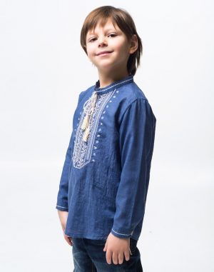 "Вышиванка для мальчика ""Дубова Гилка"" батист 098-116 синий"