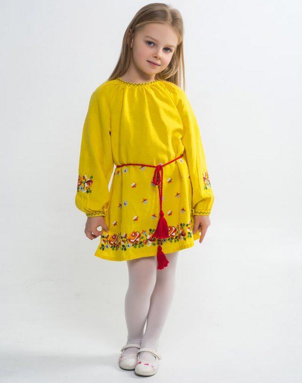 """Платье """"Трояндочки"""" ВП-152 лен желтый"""
