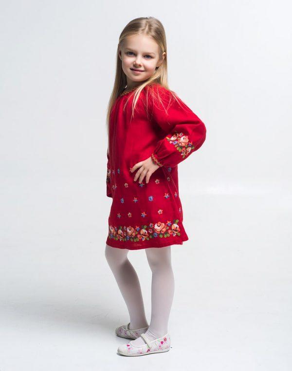 """Платье """"Трояндочки"""" ВП-152 лен красный"""