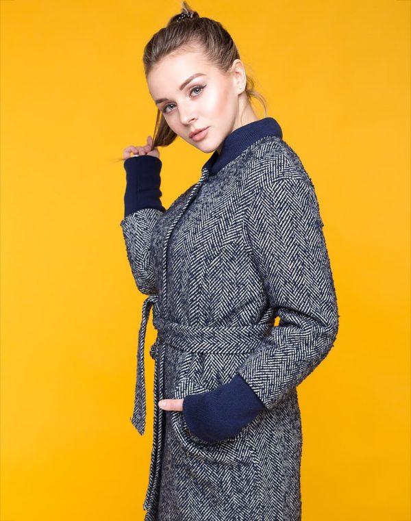 Пальто женское утепленное В-131-В Елка/Букле синий темный