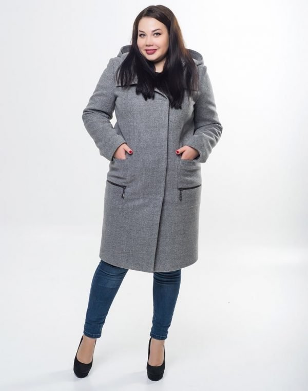 Пальто женское утепленное В-169 кашемир Феникс серый