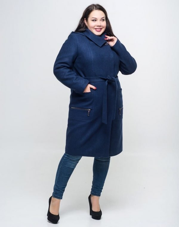 Пальто женское утепленное В-169 кашемир Феникс синий темный